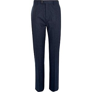 Navy wool-blend slim suit trousers