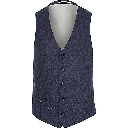 Navy wool-blend slim suit vest
