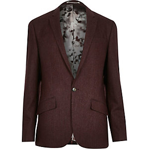 Berry red wool-blend slim suit jacket