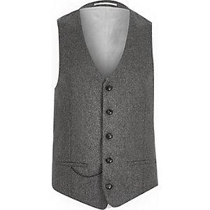 Grey wool-blend suit waistcoat