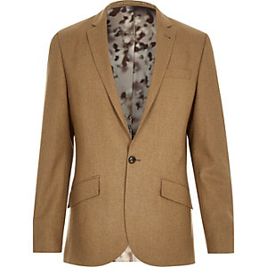 Camel brown wool-blend slim suit jacket