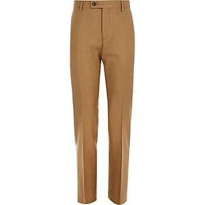 Brown wool-blend slim suit trousers