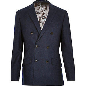 Navy wool-blend double breasted suit jacket