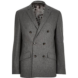 Grey wool-blend double breasted suit jacket