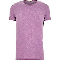 Purple burnout crew neck t-shirt