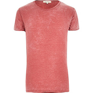 Red burn out crew neck t-shirt