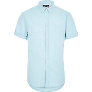 Mint green marl Oxford short sleeve shirt