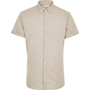Ecru marl Oxford short sleeve shirt