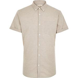 Ecru marl Oxford short sleeve shirt