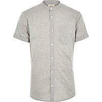 Grey textured grandad shirt