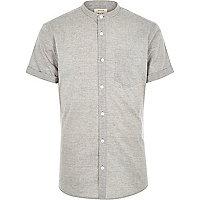 Grey textured grandad shirt