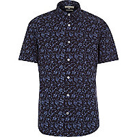 Navy micro floral print short sleeve shirt