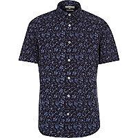 Navy micro floral print short sleeve shirt