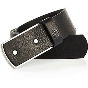 Black leather plate belt