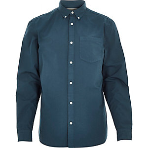 Teal green poplin long sleeve shirt