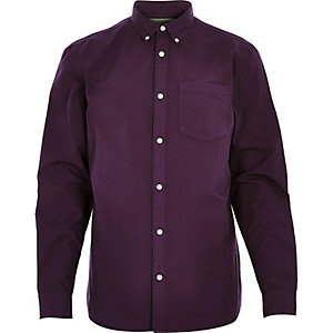 Dark purple poplin long sleeve shirt