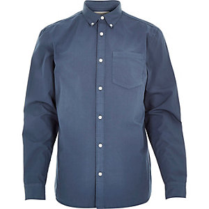 Blue poplin long sleeve shirt