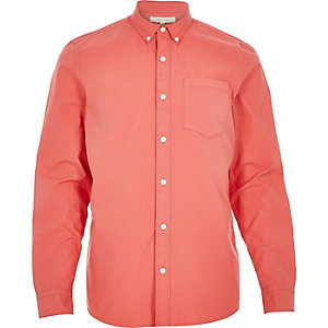 Coral poplin long sleeve shirt