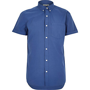 Blue poplin short sleeve shirt