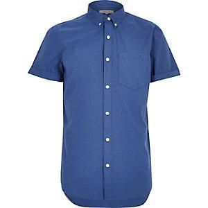 Blue poplin short sleeve shirt
