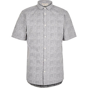Grey print poplin short sleeve shirt