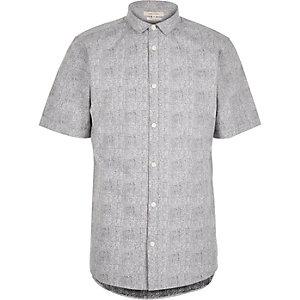 Grey print poplin short sleeve shirt