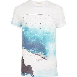 White sea foil print short sleeve t-shirt