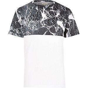 White marble colour block t-shirt