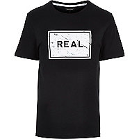 Black real marble box print t-shirt
