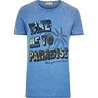 Blue paradise slogan print t-shirt