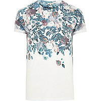 White floral skull faded print t-shirt