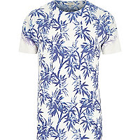 White palm tree print short sleeve t-shirt