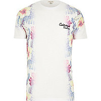 White faded floral California print t-shirt