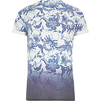 Blue faded floral print dip dye t-shirt