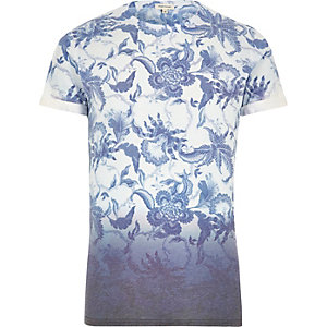 Blue faded floral print dip dye t-shirt