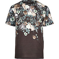 Black floral skull faded print t-shirt