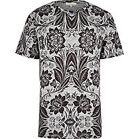 Grey floral texture t-shirt