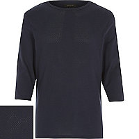 Navy mesh 3/4 sleeve top