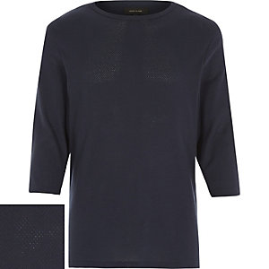 Navy cotton mesh 3/4 sleeve top