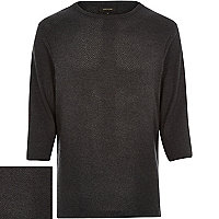 Grey cotton mesh 3/4 sleeve top
