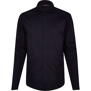 Navy jersey button through shirt