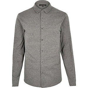 Grey jersey button through shirt