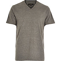 Grey premium V-neck t-shirt
