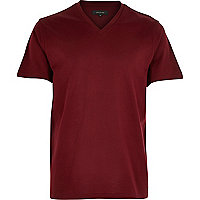 Dark red premium V-neck t-shirt