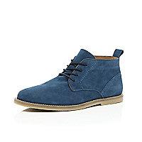 Blue suede desert boots