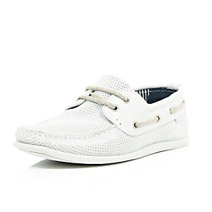 White perforated suede boat shoes