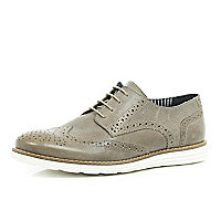 Stone leather wedge brogues