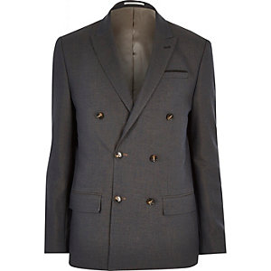 Navy double breasted slim suit jacket