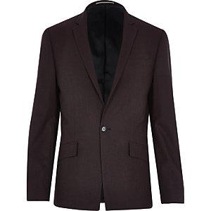 Dark red wool-blend slim blazer