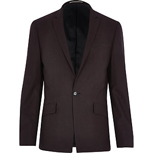 Dark red wool-blend slim blazer